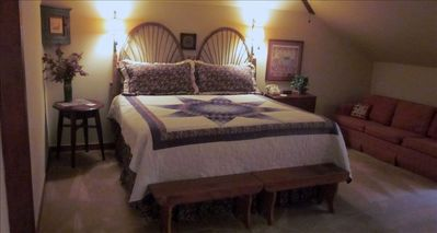 Upstairs bedroom with king bed and large twin bed.