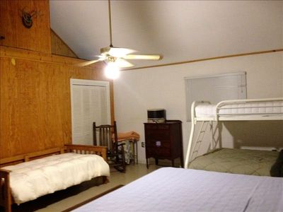 Br # 2. King, twin and full/twin bunk bed. Downstairs. Sleeps 4 or 5.