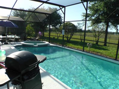 Great pool, spa and patio area, with covered lanai and BBQ. No rear neighbors