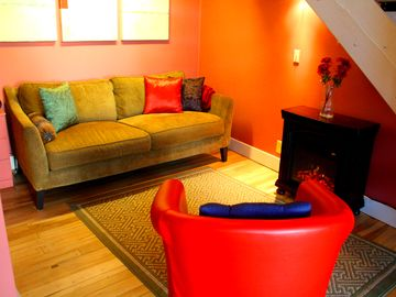 Bisbee cottage rental - Relax by the fireplace while you plan your day's adventures!