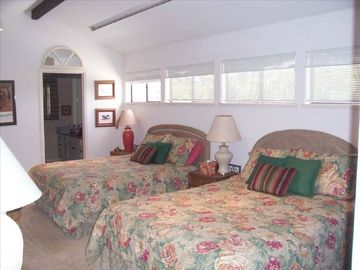 Large upstairs bedroom with two queen beds & private bath