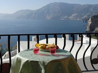 Praiano villa rental - Amalfi Coast Villa delle Rose - Terrace view with Positano and Sorrento.