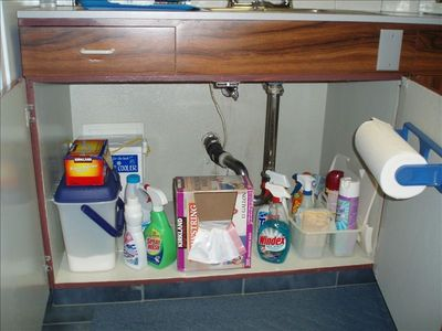 You can see a well stocked condo: Laundry Soap, Cleaning Supplies and etc.