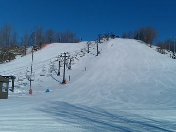 First tracks at Crystal Mountain on a beautiful Saturday Morning