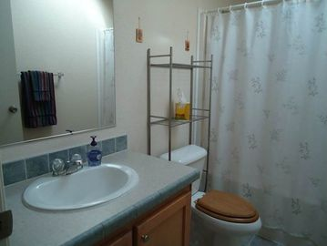 Guest Bath has bathtub & shower
