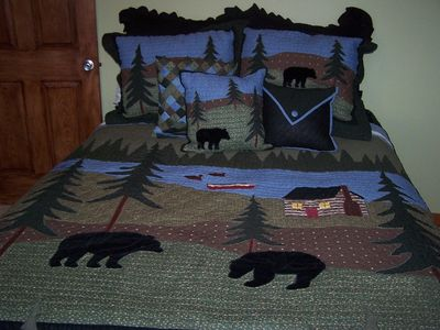 Bear room w/Queen bed and beautiful view of Bear Lake from the private balcony
