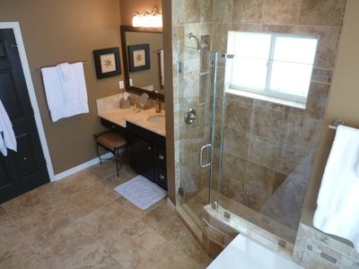 Master Bathroom, showing ladies side vanity & walk in shower
