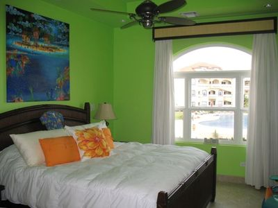 Master bedroom with pool and reef view