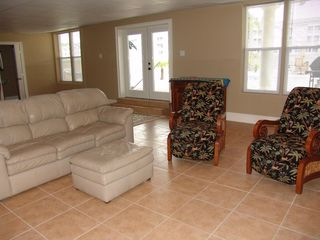 Cherry Grove Beach estate photo - First Floor Rec Room with full Bath, 62-inch Big Screen Tv, Day bed, Bunk Beds..