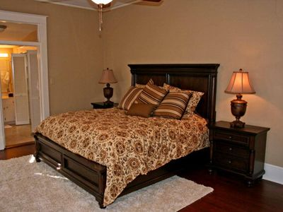 Elegant Master Bedroom with a King Sized bed.