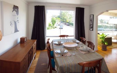 Meals are a treat with up to 8 in the dining room