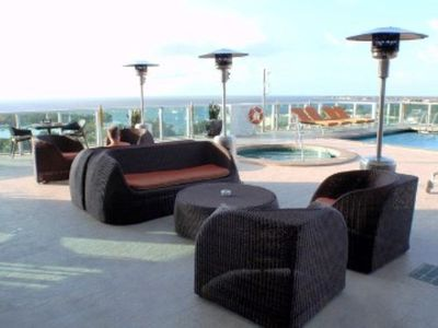 You have access to all hotel amenities including the pool deck on the 8th floor
