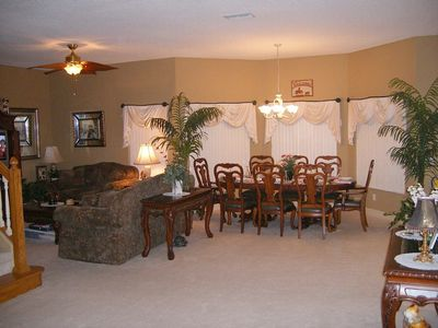 Dining area for eight. There are nine ceiling fans in our home.