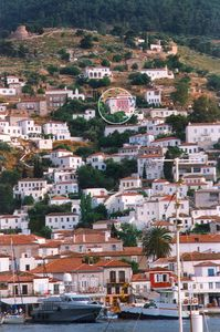 Hydra Island villa rental - View of Villa Helios from the port