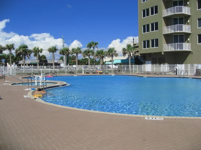 One of the outdoor pools