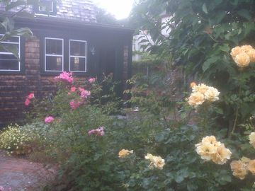Newport house rental - Private garden patio with roses, benches and gas grill (house since reshingled)