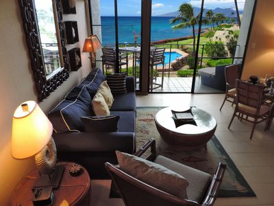 Living room with view of Molokai