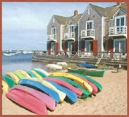 Nantucket Town house photo - View of townhouse from the beach side. Unit is 2nd from the left.