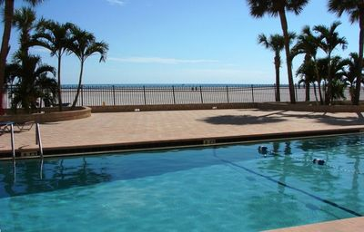New beach front heated pool, patio and sundeck.