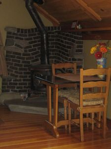 kitchen table by the wood stove