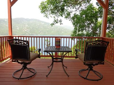 Private balcony off the Master Suite w/ a beautiful view of Magen's Bay. Enjoy.