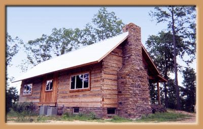 Back Side of Cabin - Massive Stone Fireplace
