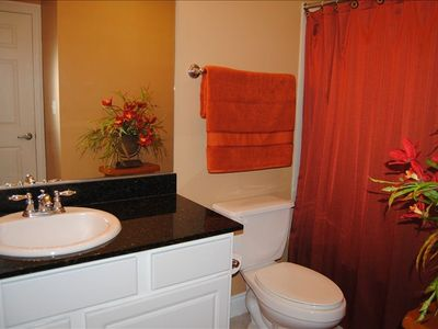 Private Master Bath with granite counters and tub/shower combo