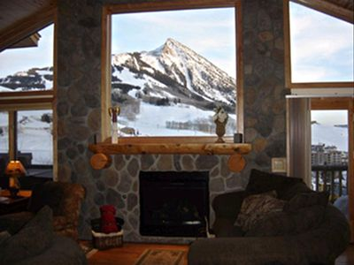 Crested Butte townhome rental - View over fireplace to Mt. Crested Butte
