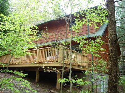 charming log cabin with hot tub large deck