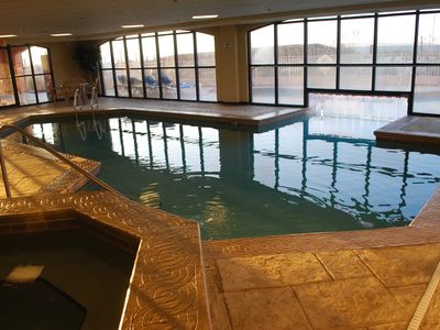 Enjoy our Indoor/Outdoor heated pool with hot tub during those cool fall mornings!