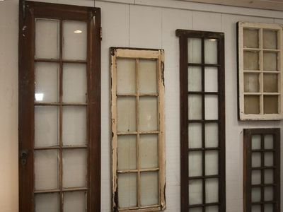 Old doors lovingly re-purposed as art in spacious Master Bedroom #1!