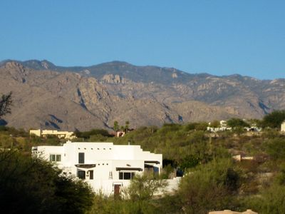Casa Blanca in the Catalina Foothills Sonoran Desert - city and mountain views.