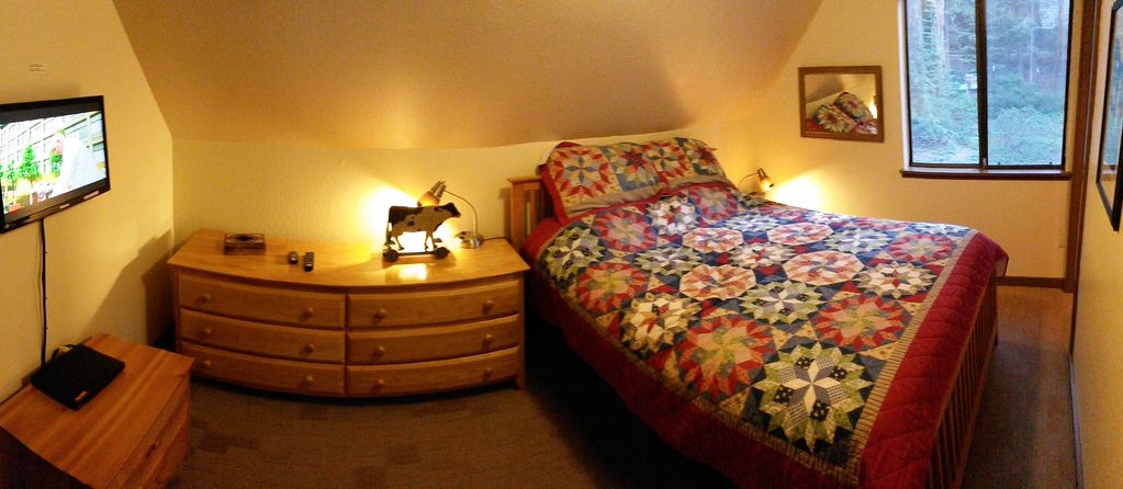 Master bedroom with queen bed and TV and DVD player.