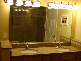 Oceans Mist Ocean City condo photo - Master Bath Vanity with Granite Sink Top Double Sink