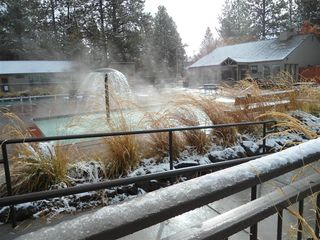 Bend condo photo - heated children's pool during November snows