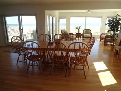 Spacious Dining room with spectaculor ocean views. Main deck ocean front access.