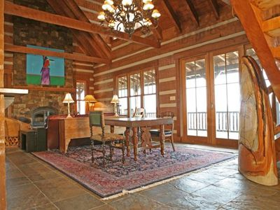 Granby house rental - Living room/family room with wood burning fireplace (kindling & wood provide