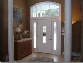 Mount Holly estate rental - Entry foyer to open living space upper level.