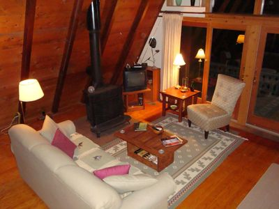 South Haven cottage rental - Looking down at Living room from upstairs