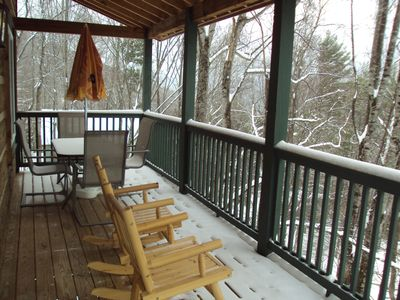 Deck for grilling, dining and socializing during the winter months