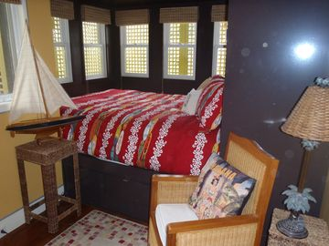 The Queen size Captain's Bed in the Beach Room.