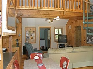 Berkeley Springs cabin photo - Living Room to large deck and firepit, laundry.
