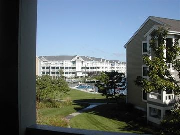 Jockey Beach Club condo rental - Deck overlooking bayside, Secluded Deck, Both Master Bedrooms lead to deck &