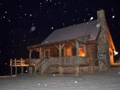 Front cabin view at night when snowing!