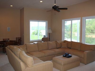 The lower level Great Room is perfect for watching movies and playing games.