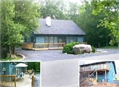 Mount Pocono house rental - Front & rear view of home, w/ hot tub, double lot size and patio funiture.