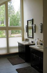 Port Ludlow house photo - Large master bath with spa shower, bathrobes and heated floor