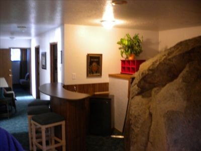 Rock  Room with wet bar and  refrigerator