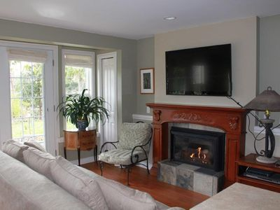 Cozy fireplace and flat screen tv