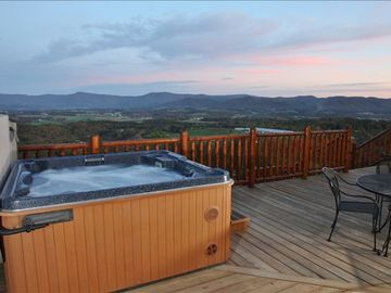 8 person hot tub on large deck with amazing shenandoah valley views